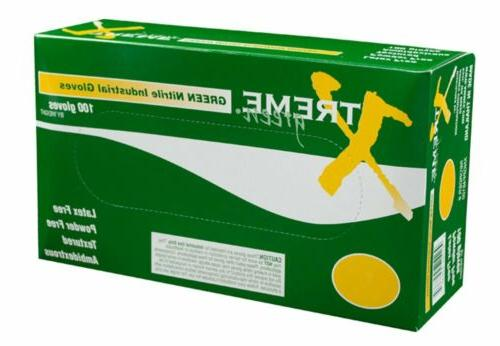 nitrile disposable industrial gloves 3mil green blue