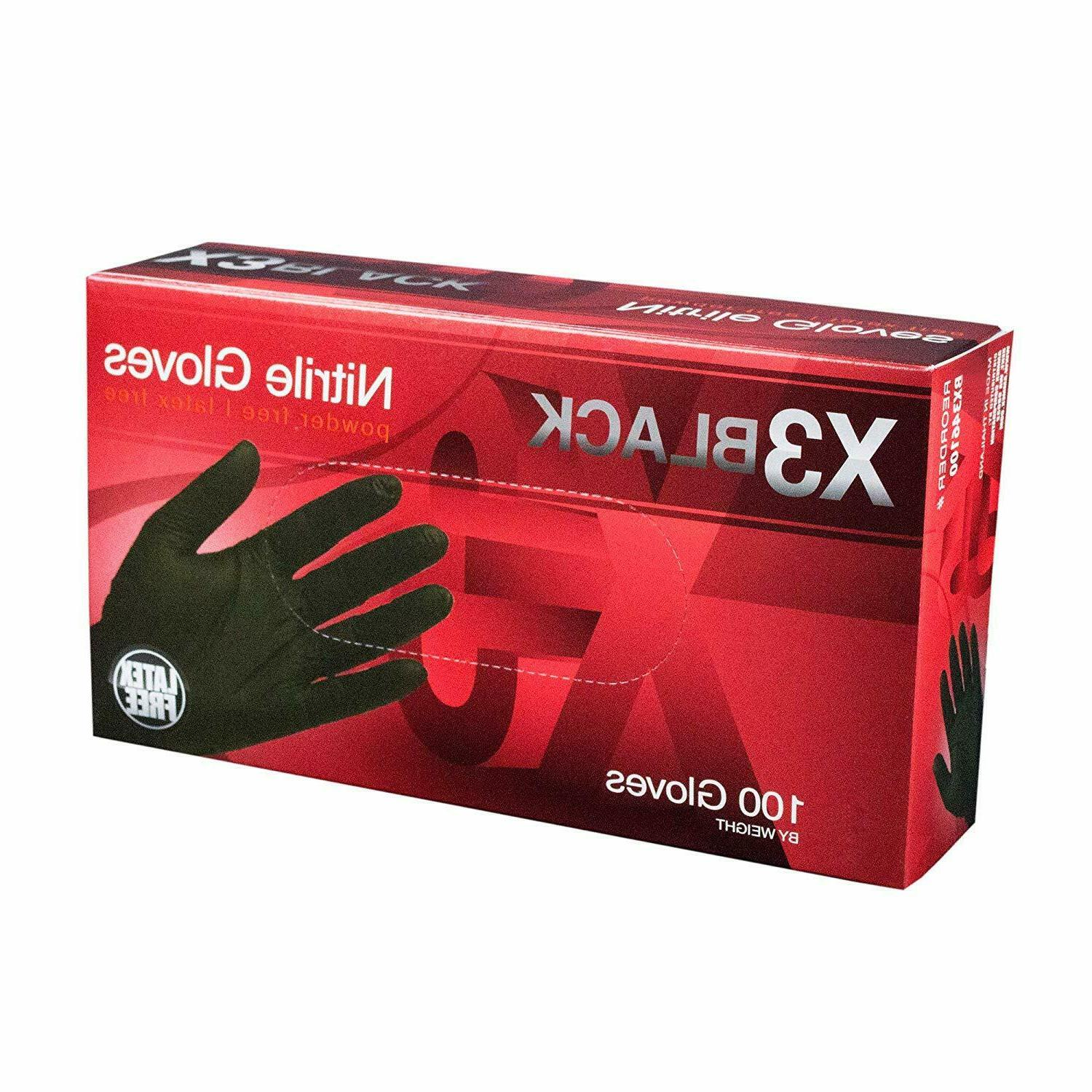 NITRILE DISPOSABLE INDUSTRIAL GLOVES BOX 3 MIL BLACK FOOD SA