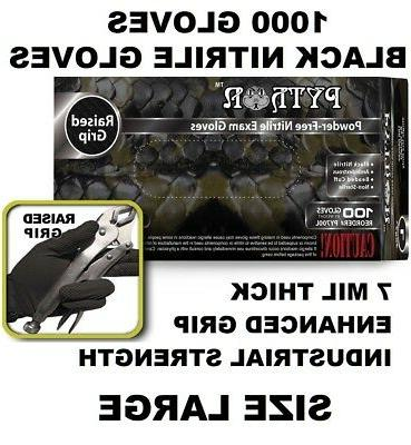 BLACK PYTHON Nitrile Gloves, 7 mil, Powder Free, Case of 100
