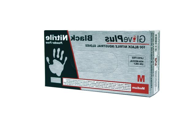 nitrile gloves powder free black size medium