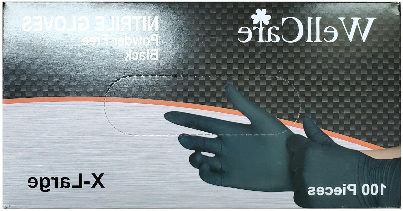 nitrile gloves powder free black size x