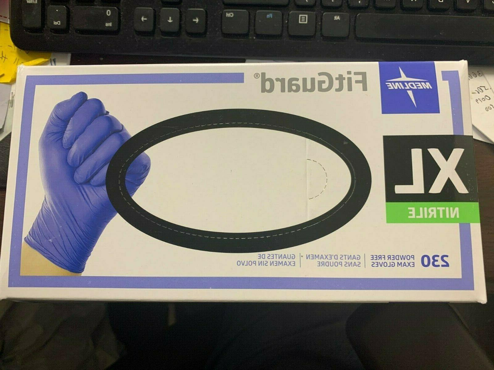 Nitrile gloves powder Size XL/L/M/S/XS Fitguard Exam grade