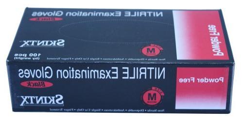 Black Nitrile Powder-Free Exam Gloves - Medium