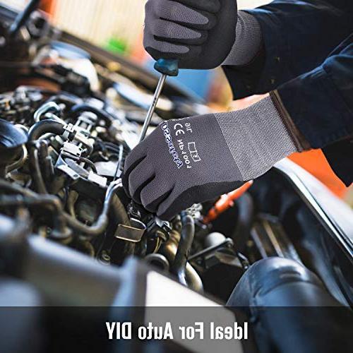 Knit Work Gloves Micro Foam & Spandex Liner Nitrile Work Gloves CE 15 gauge Ergonomic Design Men's 12Pairs