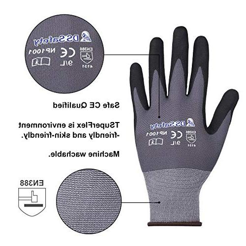 DS Safety NP1001 Nylon Knit Gloves with Micro Technology Work CE 15 gauge Men's Thin Working 12Pairs