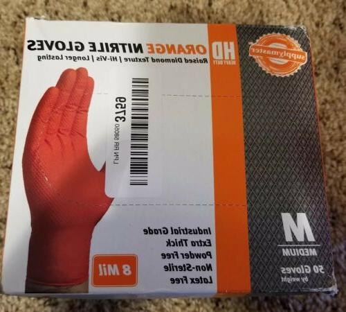 orange diamond texture nitrile gloves disposable 50