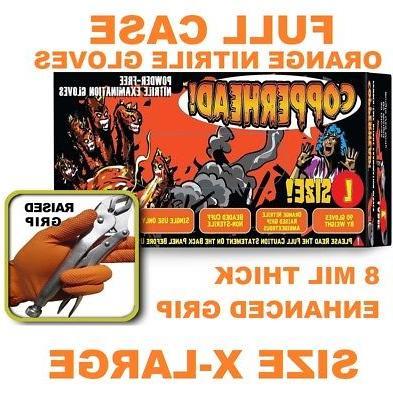 COPPERHEAD Orange Nitrile Gloves, 8 mil, Powder Free, FULL C
