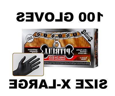 PITBULL Black Nitrile Gloves, 6 mil, Powder Free, Box of 100