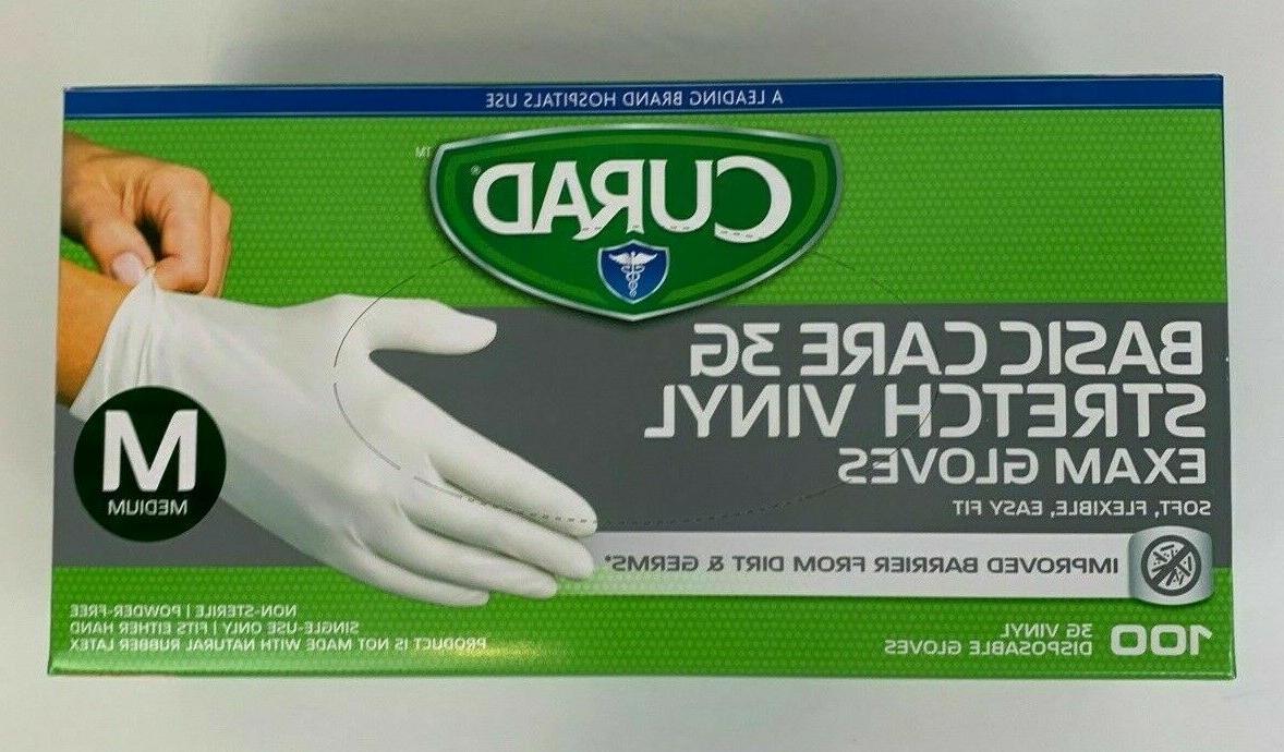 Curad Powder Free Latex Free 3G Vinyl Exam Gloves Medium