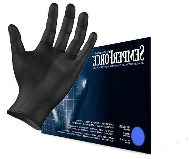 semperforce black nitrile exam tattoo gloves powder
