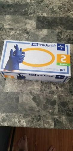 Medline SensiCare Silk Nitrile Exam Gloves,Small, Blue  US S