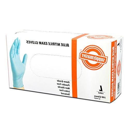 SupplyMaster Exam Nitrile Disposable, 3 Blue