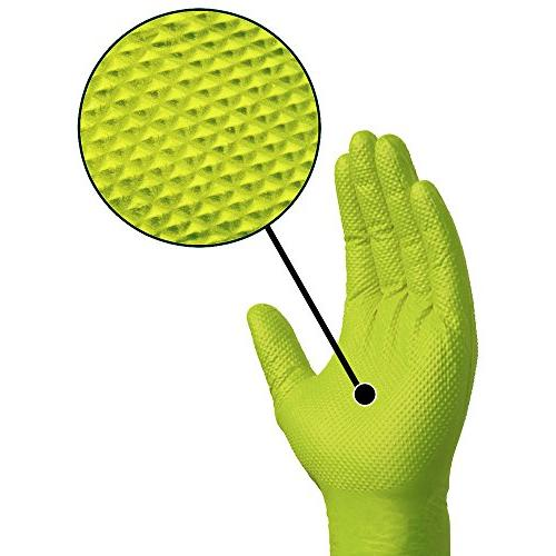 SupplyMaster - Diamond Texture Gloves - Disposable, Free, Industrial, mil, Large, Green