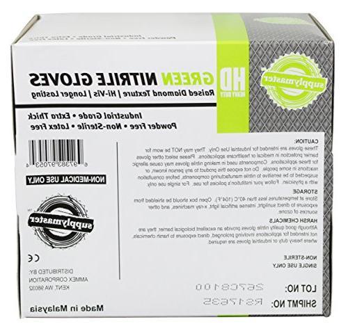 SupplyMaster - - Diamond Texture - Powder Free, Industrial, 8 mil, Green