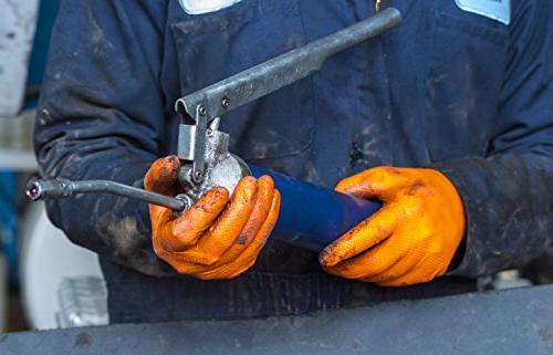 SupplyMaster - SMDTON8L Diamond Texture Nitrile Gloves - Disposable, Industrial, 8 mil, Large, Orange