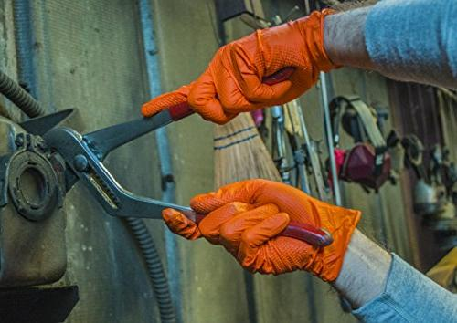 SupplyMaster - SMDTON8L Diamond Texture Gloves - Disposable, Powder Free, Industrial, mil, Orange