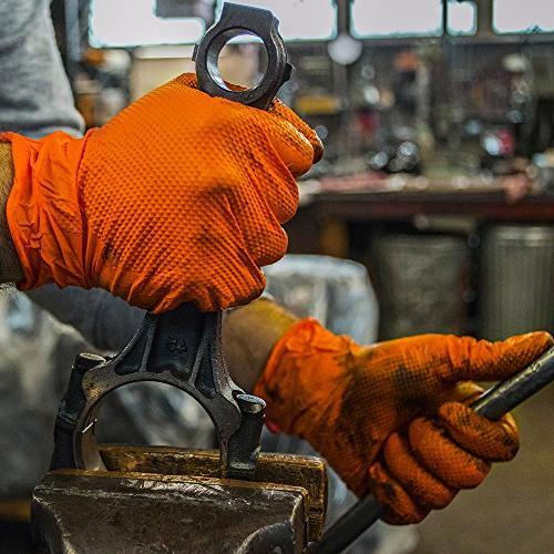 SupplyMaster - Diamond Texture Nitrile - Industrial, 8 Medium, Orange