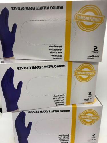 smine4l indigo nitrile exam gloves 4 box