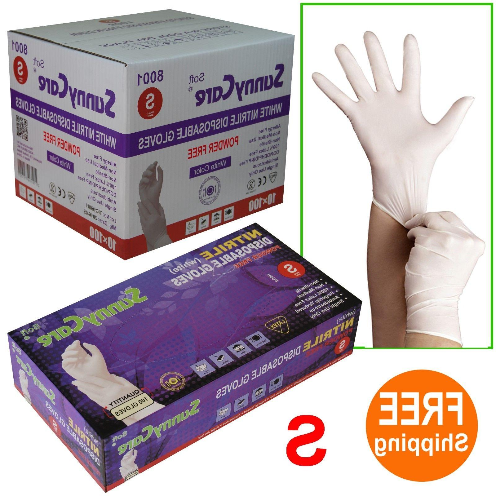SunnyCare® #8001 White Nitrile Disposable Gloves Powder Fre