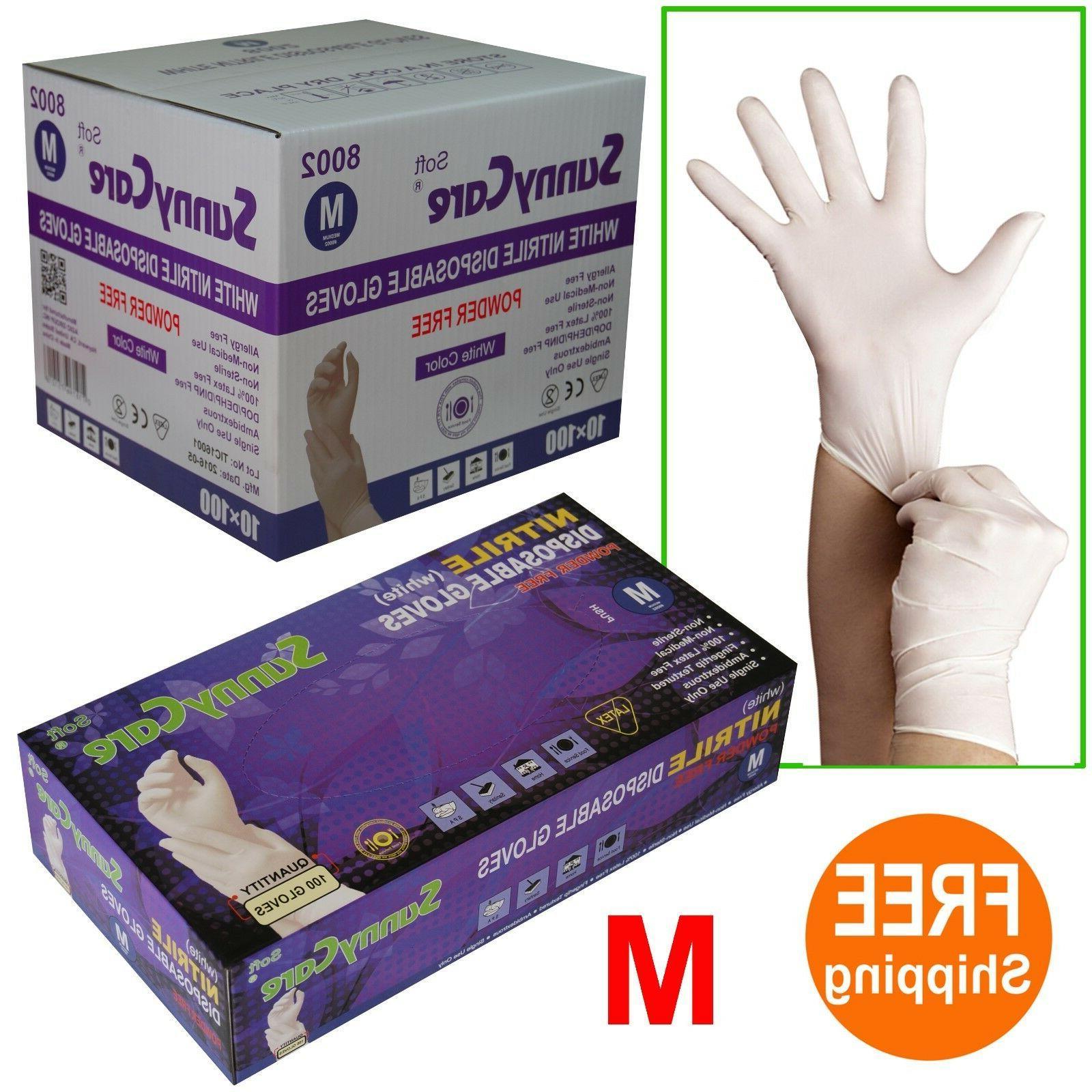sunnycare 8002 white nitrile disposable gloves powder