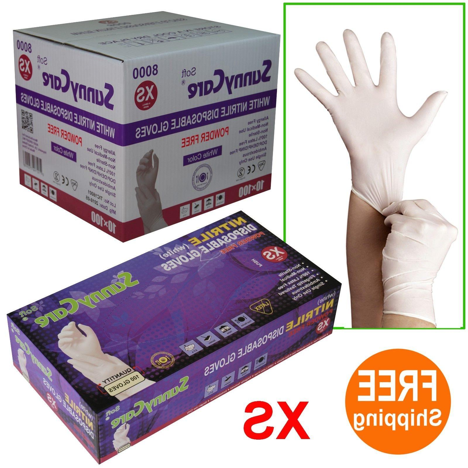 sunnycare white nitrile disposable gloves
