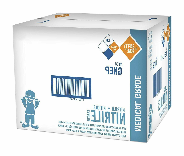 The Safety Zone Nitrile Exam Gloves, Medical Grade, Powder-F