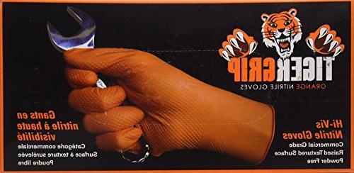 Eppco Tiger Grip Nitrile Gloves, X-Large, Orange