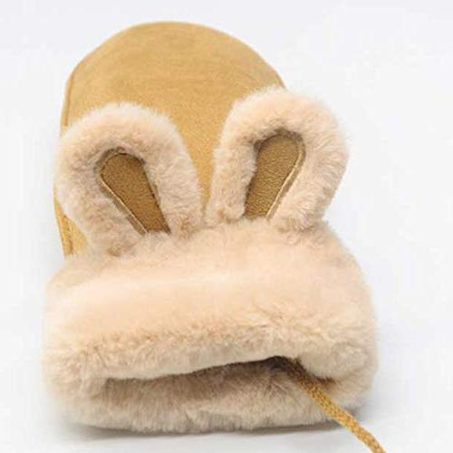 CactusAngui Winter Thick Hanging Gloves Rabbit Ears Warm Finger Yellow
