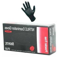 Large Skintx Black Nitrile Exam Gloves Powder-Free Box of 10