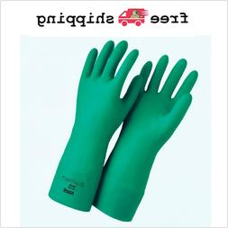 Large Nitrile Work Gloves Chemical Protection Flock Lining G