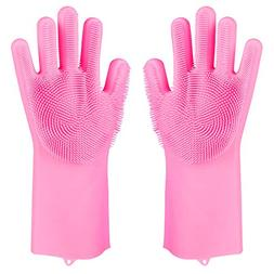 Magic Saksak Silicone Dishwashing Scrubber Gloves,Reusable B