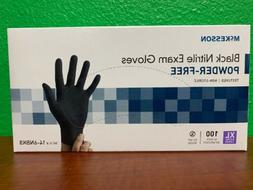 McKesson X-Large Black Nitrile Exam Gloves Powder-Free #100