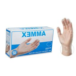 AMMEX Medical Clear Vinyl Gloves, Box of 100, 4 mil -Differe