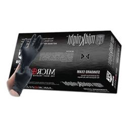 Microflex MK-296-L Midknight Exam Gloves, PF Nitrile, Textur