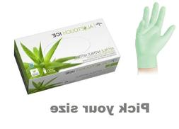 new aloetouch ice nitrile exam gloves green