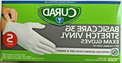 *New* CURAD Basic Care Stretch Vinyl Exam Gloves Soft 100 Ct