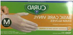 New Curad Basic Care Vinyl Exam Gloves Soft Flexible Easy Fi