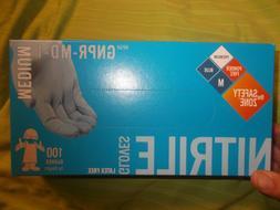 New Box of 100 Blue 6 MIL Nitrile Powder/Latex Free SafetyGl