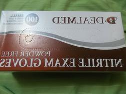 New Box of 100 DealMed Blue Nitrile Powder Free Exam Gloves-