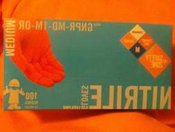 New Box of 100 Hi-Vis Orange 4 MIL Nitrile Powder/Latex Free