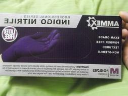 New Box of 100 Indigo Nitrile Ammex Exam Gloves Powder/Latex