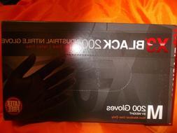 New ! Box Of 200 Ammex X3 Black Nitrile Safety Gloves-Size M
