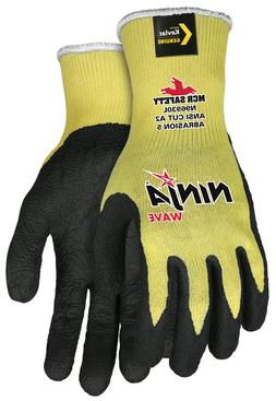 Memphis Ninja Nitrile Wave Coated Work Gloves, Yellow