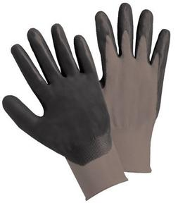 Nitrile Coated Gloves, Large, Black/Gray, Work