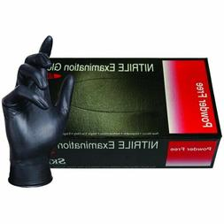 Disposable Black Nitrile Exam Powder-Free Gloves  Textured 5