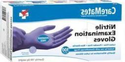 Caremates Nitrile Exam, Powder Free Glove, Large, 100-count