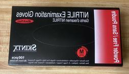 Skintx Nitrile Exam Powder Free Gloves, Black SIZE M Disposa