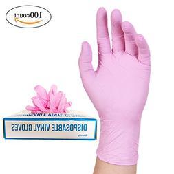 Nitrile Exam Powder-Free Gloves - disposable Food Grade Pink