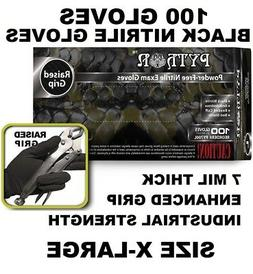 BLACK PYTHON Nitrile Gloves, 7 mil, Powder Free, 100 Gloves,