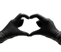 Nitrile Gloves BLACK HEAVY-DUTY {S M L XL} Powder free 50 /1